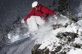 滑雪者,跳跃,上方,小石头