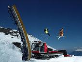 滑雪者,跳跃,滑雪道,机器