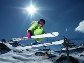 女性,滑雪者,跳跃