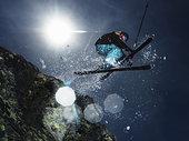 女性,滑雪者,跳跃,上方,石头