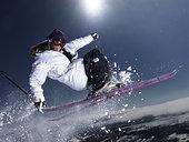 男人,抓,滑雪,尾部,半空