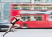 运动员,比赛,巴士,城市街道