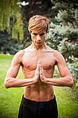 男人,练习,瑜珈,公园