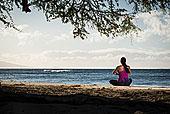 女人,练习,瑜珈,海滩