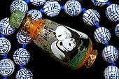 亚洲,中国,工艺品,小,手绘,熊猫,瓶子,图像,涂绘,室内,蓝色,白色,珠子,项链,物权