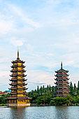桂林,两个,河,四个,湖,塔,建筑