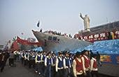 中国,四川,成都,广场,毛泽东,纪念建筑,雕塑,人群,游行,亚洲