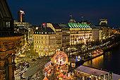 风景,内城,圣诞市场,夜晚,汉堡市,德国,俯视图