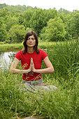 女人,实践,瑜珈,水塘,正面