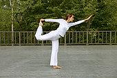 女人,实践,瑜珈,平台,侧面