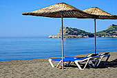 海滩,沙滩椅,沙滩伞,地中海,西南部,土耳其