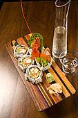 龙虾,寿司,木质,大浅盘,水罐,玻璃,日本米酒