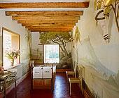 浴室,风景,壁画,独立式,浴缸,仰视,天花板,木梁