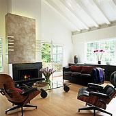 经典,物品,家具,现代,室内,椅子,黑色,皮沙发,玻璃桌,正面,打开,壁炉