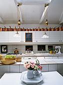 大,厨房,独立式,岛屿,新艺术,吊坠,灯