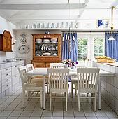 餐厅,混合,风格,木椅,餐桌,木质,柜橱,白色背景,地砖