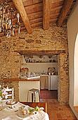 石墙,入口,简单,白色,厨房,就餐区,西班牙,吊灯