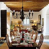 吊灯,悬挂,木质,吊顶,高处,喜庆,餐桌,开放式格局