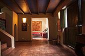 大,暗色,大厅,赤陶,砖瓦,天花板,风景,客厅