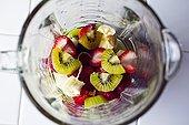 猕猴桃,香蕉,草莓,搅拌机