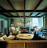大,木质,枝状大烛台,天花板,支配,客厅,巨大,沙发