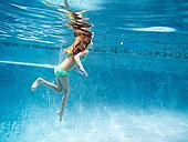 女孩,水下,游泳池