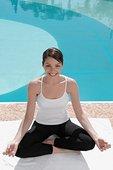 女人,练习,瑜珈,池边