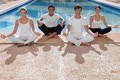 四个,朋友,练习,瑜珈,池边
