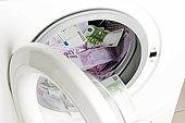 欧元,货币,洗衣机,象征,洗钱