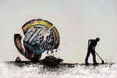 男人,刷,破损,片,欧元硬币
