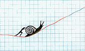 男人,推,蜗牛,向上,慢,线条,图表