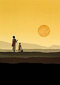 母女,看,太阳,拿着,干燥,土地