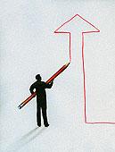 剪影,男人,轮廓,向上,箭头
