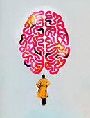 男人,风雨衣,仰视,大,大脑