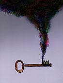 空气污染,烟,工厂,烟囱,钥匙