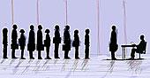 商务人士,站立,面试,队列