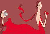 男人,摄影,时装模特,穿,红裙
