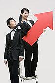 职业女性,拿着,箭头,商务,男人,领带