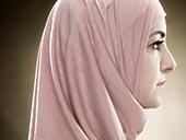 侧面,年轻,穆斯林,女人