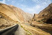 道路,弯曲,峡谷,靠近,河