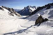 山峦,冰河,靠近,勃朗峰