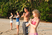人,练习,瑜珈,海滩