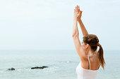 女人,练习,瑜珈,海洋