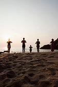 女人,练习,瑜珈,海滩,日落