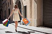 后视图,美女,街上,购物袋