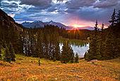 日落,上方,安静,乡村,湖