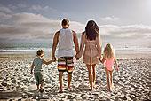 年轻家庭,握手,一起,海滩,后视图
