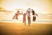 年轻人,跳跃,海滩,圣地亚哥,加利福尼亚,美国