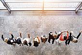 俯视,企业团队,排列,雀跃