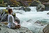 女人,沉思,石头,水